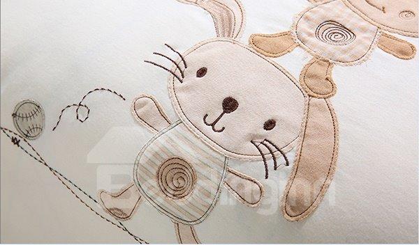 Cute Animals Playing Baseball Pattern 7-Piece Organic Cotton Crib Bedding Sets