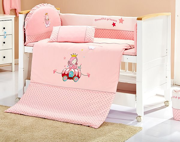 Pink Beautiful Princess 100% Cotton Crib Bedding Set