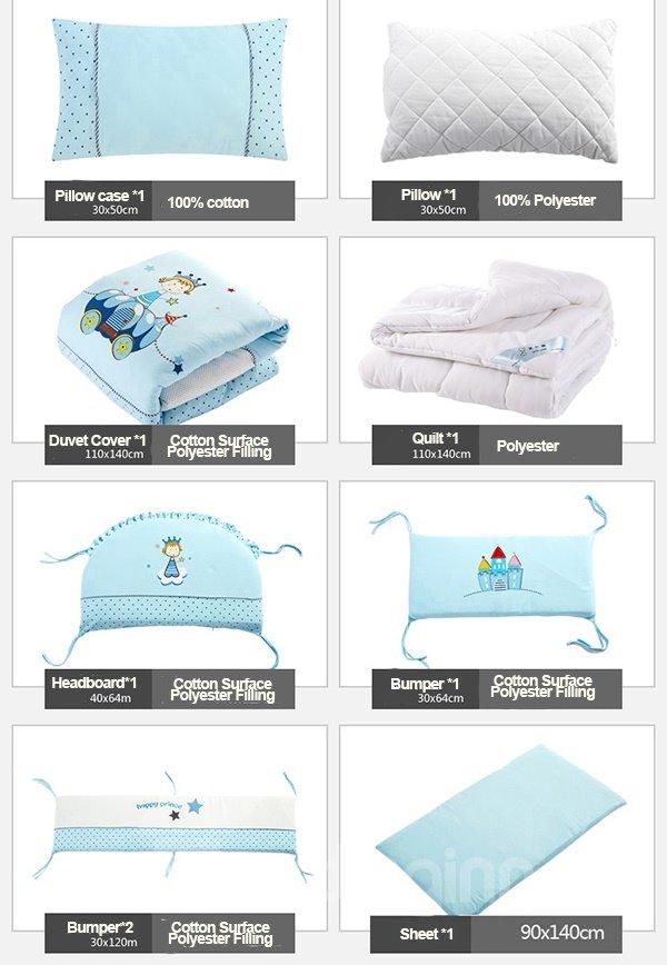 Happy Prince Bright Blue 100% Cotton Crib Bedding Set