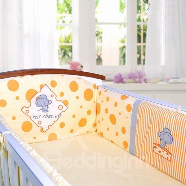 Super Cute Mouse and Cheese Pattern Cotton 6-Piece Crib Bedding Set