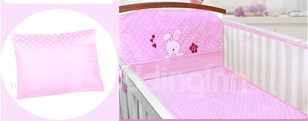 Lovely Rabbit and Bird Pattern Cotton 6-Piece Crib Bedding Set
