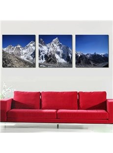 Magnificent Snow-Covered Mountains 3-Panel Canvas Wall Art Prints