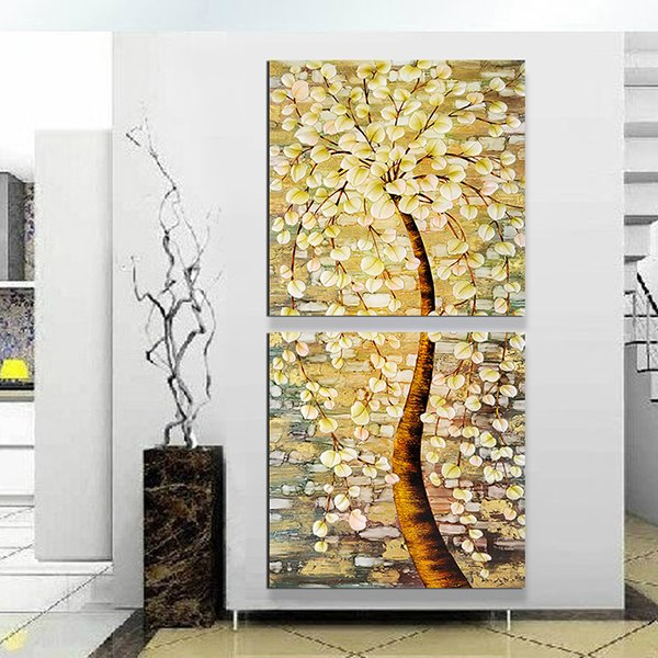 Wonderful Oil-Painting Style Abstract Tree 2-Panel Canvas Wall Art ...