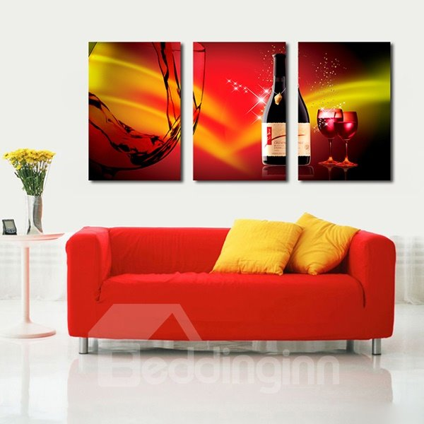 Creative Dining Room Decoration Wine and Glasses 3-Panel Canvas Wall Art Prints