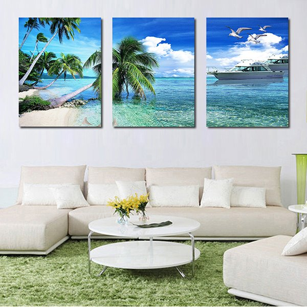 Wonderful Blue Sea and Palm Trees 3-Panel Canvas Wall Art Prints