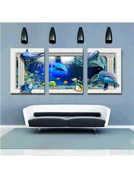 Creative Nursery Kidsroom Underwater World 3-Panel Canvas Wall Art Prints