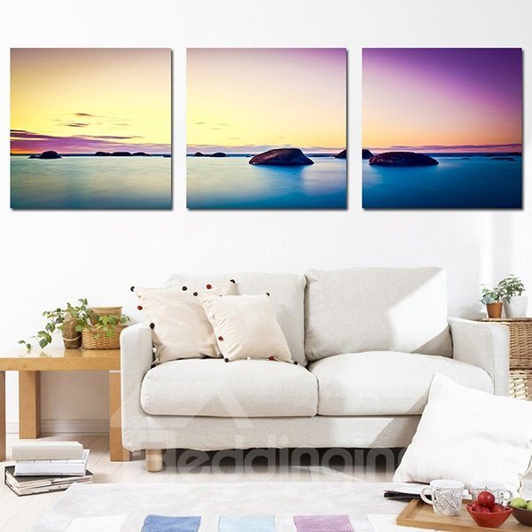 Fabulous Sea View on the Horizon 3-Panel Canvas Wall Art Prints