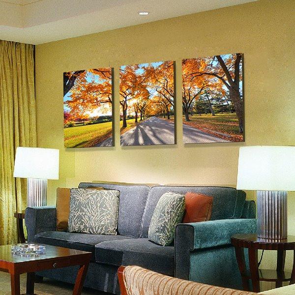 Wonderful Tree-Lined Lane 3-Panel Canvas Wall Art Prints