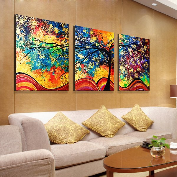 1624in3 Panels Colored Tree Oil Painting Hanging Canvas Waterproof