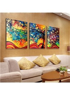 Fantastic Modern Oil-Painting Style Abstract Tree 3-Panel Canvas Wall Art Prints