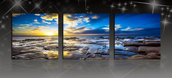 Breath-Taking Sunrise Shining 3-Panel Canvas Wall Art Prints