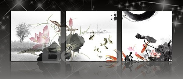 Classic Ink Painting Lotus and Fish 3-Panel Canvas Wall Art Prints