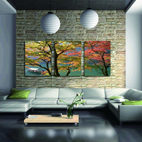 Fantastic Colorful Trees 3-Panel Canvas Wall Art Prints