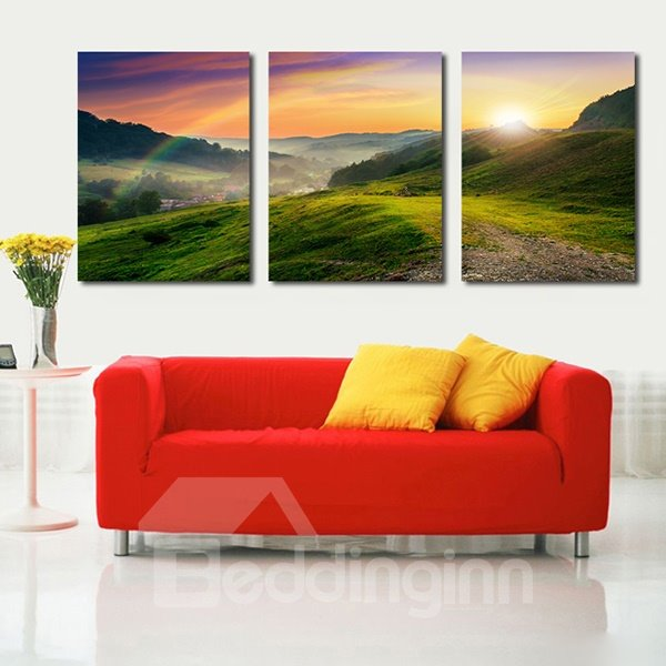 Gorgeous Sunrise in Green Mountains 3-Panel Canvas Wall Art Prints