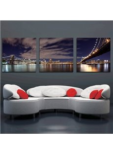 Wonderful Metropolis Night 3-Panel Modern Art Canvas Framed Wall Prints
