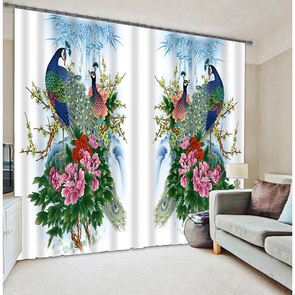 Oriental Traditional Peacocks Blossoms Printed Animal Pic
