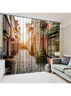Vintage Street Dawn Sunshine Printing 3D Curtain