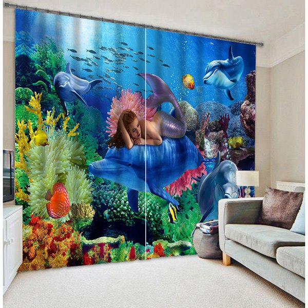 Mysterious Mermaid With Wonderful Undersea World 3D Blackout Bedroom Curtain