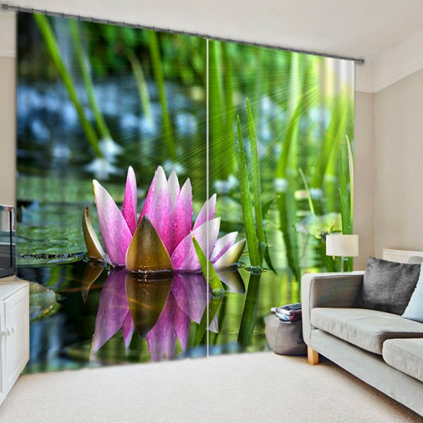 Elegant Blossoming Lotus Printing 3D Blackout Curtain