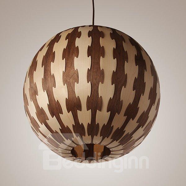 Amazing Round Ball Shape Decorative Stripe Pattern Wood Pendant Light