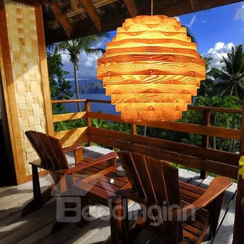 Unique Lantern Design Wood Pendant Light