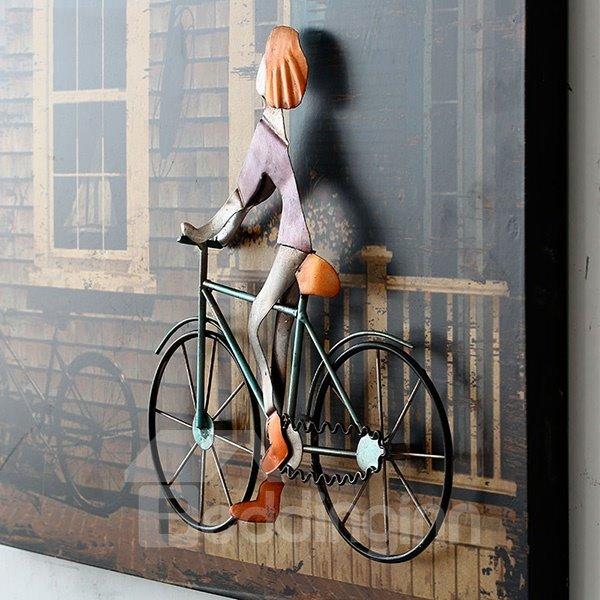 Bicycle Wall Art european style iron artwork 3d bike framed wall art print