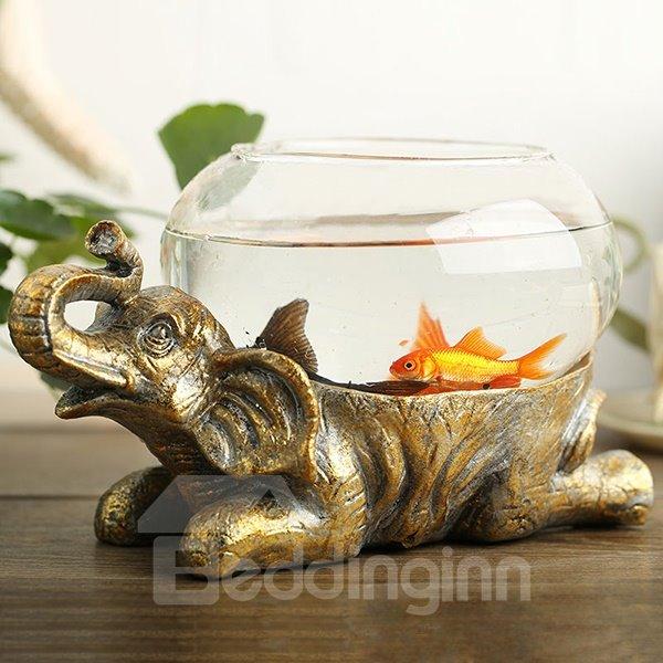Unique Resin Elephant Design Base Glass Flower Pot/Fish Bowl