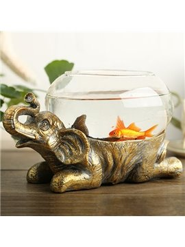 Unique Resin Elephant Design Base Glass Flower Pot/Fish Bowl
