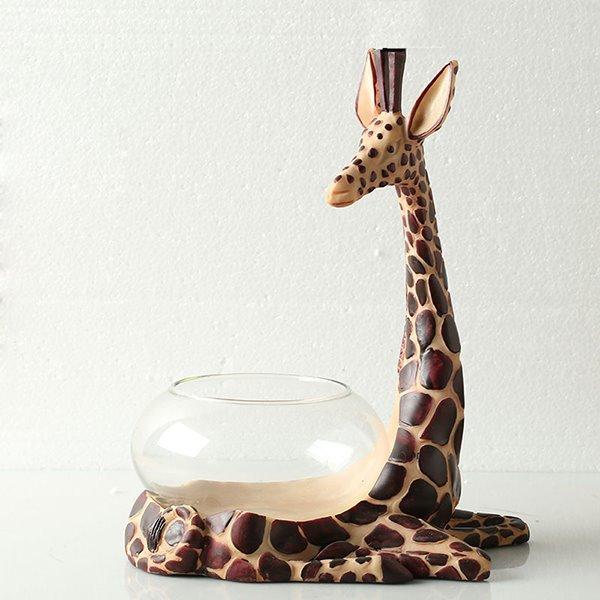 Unique Resin Giraffe Design Base Glass Flower Pot Fish