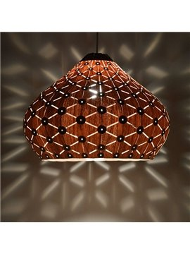 Modern Wooden Wood Veneer Shade Dining Room Pendant Lights