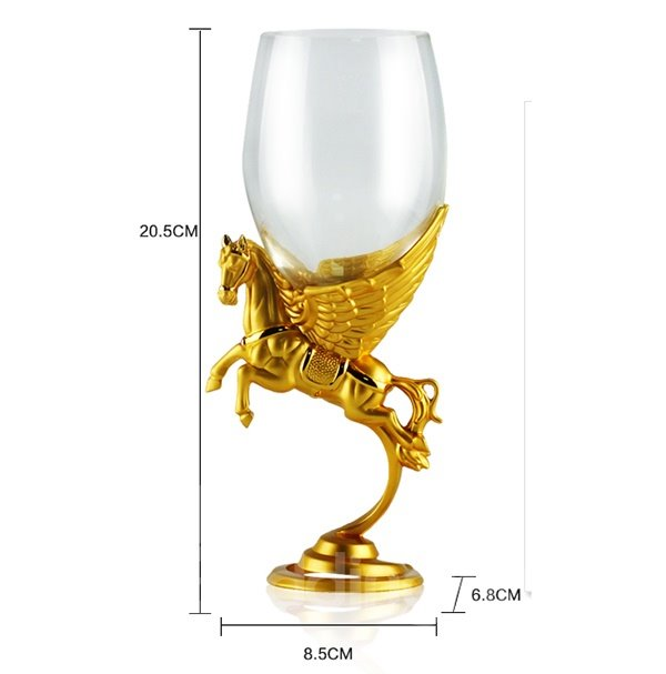 Fabulous Gold-Plated Horse Design Crystal Glass Wine Glass