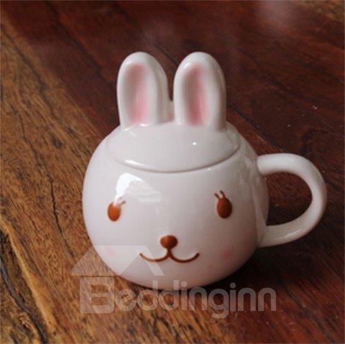 Super Cute 3D Rabbit Design Ceramic Coffee Mug with Lid
