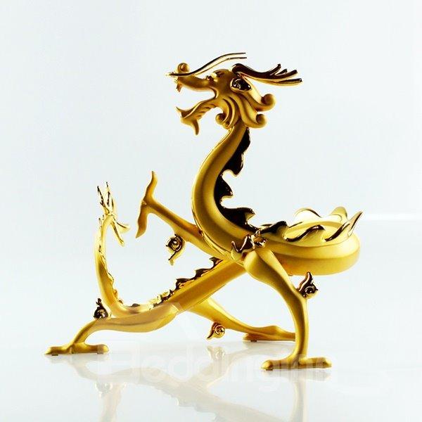 Creative Dragon Design Alloy Gold-Plated Wine Rack