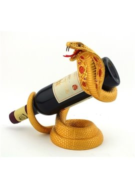 Fantastic Cobra Design Alloy Gold-Plated Wine Rack
