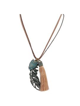 Women' s Vintage Tassel Leaf and Owl Pendant Necklace