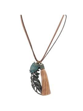 Women' s Vintage Tassel Leaf and Owl Pendant Necklace