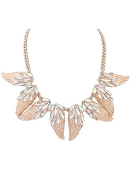 Women' s Fashion Crystal Wing Pendant Necklace
