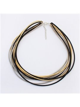 Women' s Fashion Multi-layer Alloy Strand Necklace