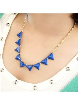 Women' s Royal Blue Triangle Alloy Necklace