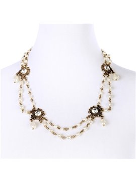 Women' s Acrylic Pearl Cystal Strand Necklace