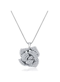 Shining Rhinestone Rose Design Pendant Necklace