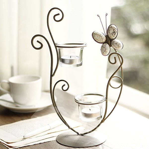 Creative Simple Iron Artwork Butterfly 2-Head Candle Holder