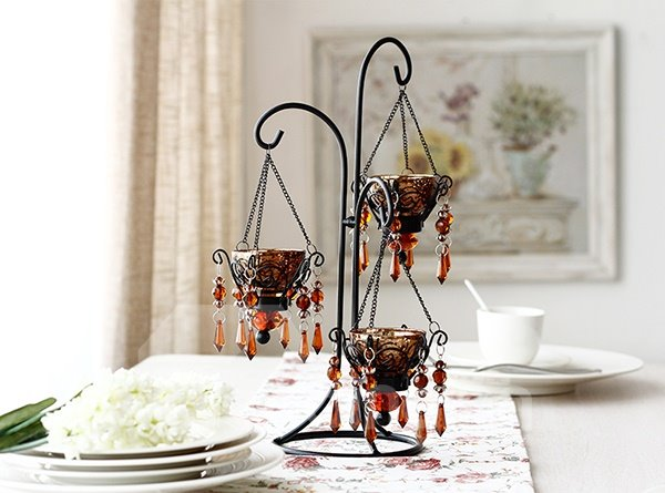 Fabulous Crystal Pendant Iron 3-Head Candle Holder