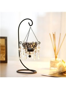Decorative Romantic Crystal Pendant Iron 1-Head Candle Holder