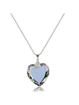Women' s Crystal Heart Shape 925 Sterling Steel Pendant Necklace