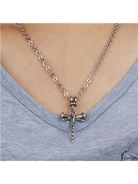 Men' s Cool Titanium Steel Cross Pendant Necklace