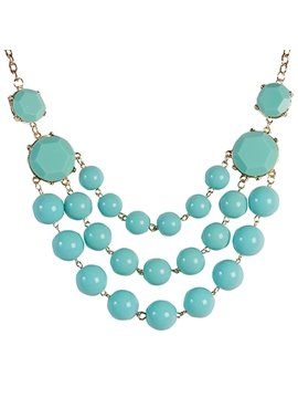 women' s Fashion Green Gemstone Statement Necklace