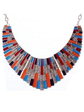 women' s Vogue Colorful Gemstone Statement Necklace