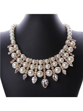 women' s Fashion Sparkle Crystal Pearl Statement Necklace