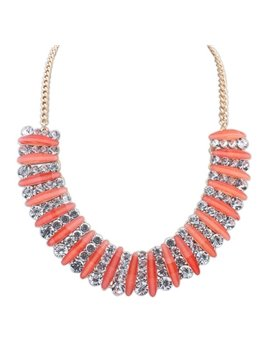 women' s Fashion Colorful Crystal Statement Necklace